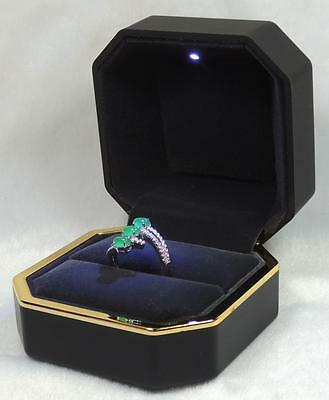 Black LED Lighted Jewelry Engagement Wedding Ring Box Gift 6001