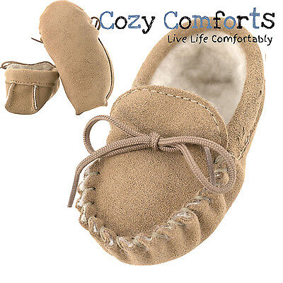 Genuine Suede and Lambswool Moccasins for Babies - 0-24 Months