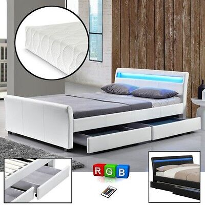CORIUM Storage bed 140/180x200 LED Pads imitation leather Double Bed Box