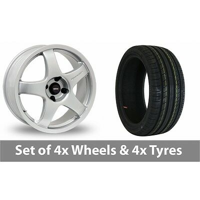 "4 x 17"" Team Dynamics Pro Race 3 Silver Alloy Wheel Rims and Tyres -  205/40/17"