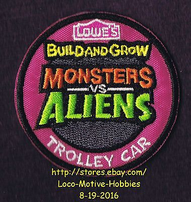 LMH PATCH Badge MONSTERS ALIENS TROLLEY CAR 2014 LOWES Build Grow Project Series