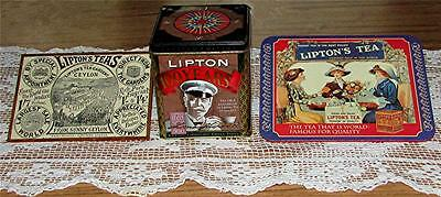 3 Pc. Vtg. Lipton Tea Ltd.ed.100Th Anniversary Tin, Copper Edged Plaque & Trivet