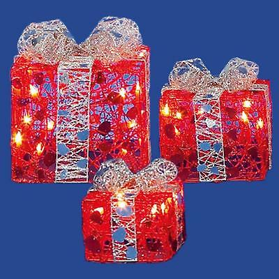 Premier Set of 3 Light up Christmas Parcels Fairy Lights - Red & Silver
