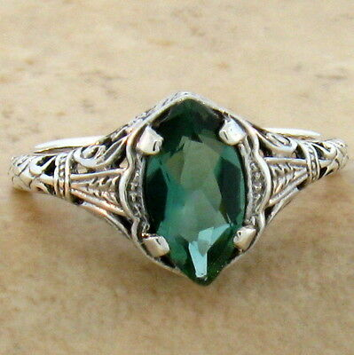 Green Lab Amethyst 925 Sterling Silver Antique Style Silver Ring Size 4.75, #788