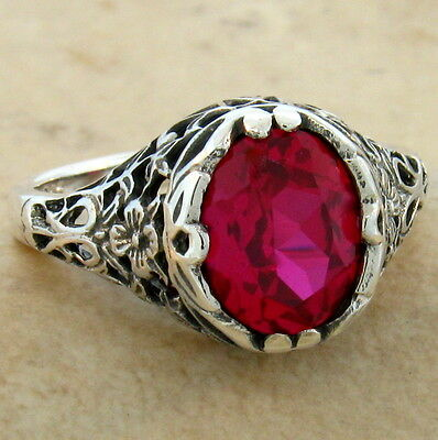 2.5 Ct Lab Ruby .925 Sterling Antique Filigree Design Silver Ring Size 9,   #769
