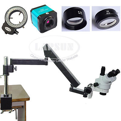 3.5X-90X Trinocular Articulating Arm Stereo Lab Microscope Set +14MP HDMI Camera