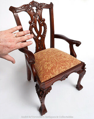 Doll Small CHILD SIZE CHAIR Victorian Antique Style Mahogany Dining Arm Carver