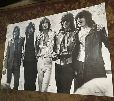 ROLLING STONES POSTER VINTAGE 60s 70s KEITH RICHARDS MICK JAGGER 39X27 art BW