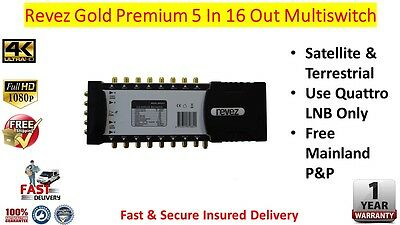 Revez Gold Premium 5 In x 16 Out Satellite & Terrestrial Multiswitch