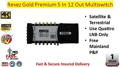 Revez Gold Premium 5 In x 12 Out Satellite & Terrestrial Multiswitch