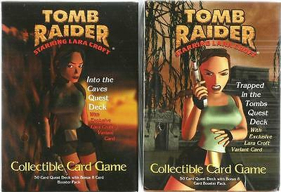 Tomb Raider Card Games Lot of 2 - Into The Caves + Trapped In The Tombs - Sealed