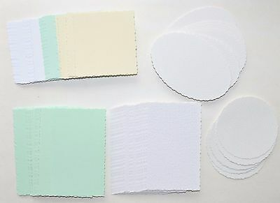 30 Pcs Deckle Edged Card 115 x 70mm/Circle/Oval Smooth & Textured Card NEW
