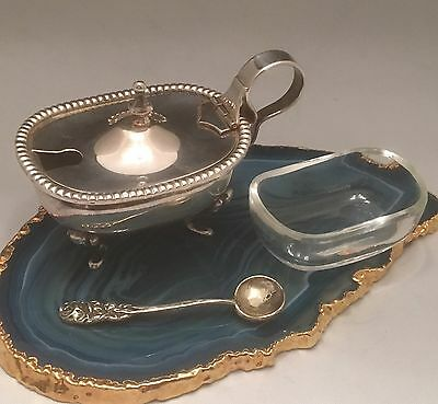 IMPECCABLE European Solid Sterling Silver Mustard Pot w Glass Liner & Spoon-L223