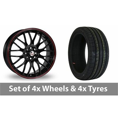 "4 x 15"" Calibre Motion 2 Black Red Alloy Wheel Rims and Tyres -  195/50/15"