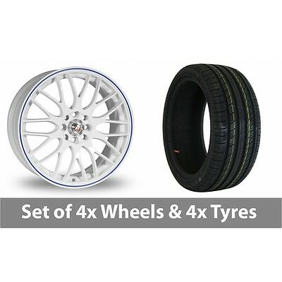 "4 x 15"" Calibre Motion 2 White Blue Alloy Wheel Rims and Tyres -  195/50/15"