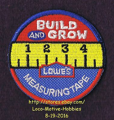 LMH PATCH Badge  MEASURING TAPE Measure Ruler LOWES Build Grow Project Series