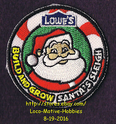 LMH PATCH Badge 2011 SANTA'S SLEIGH Santa Claus Xmas LOWES Build Grow Candy Cane