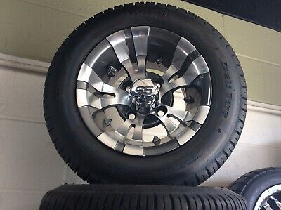 Set Of 4 Golf Cart Rim And Tire Combo THE RTG LEGEND Chrome Lug Nuts Included