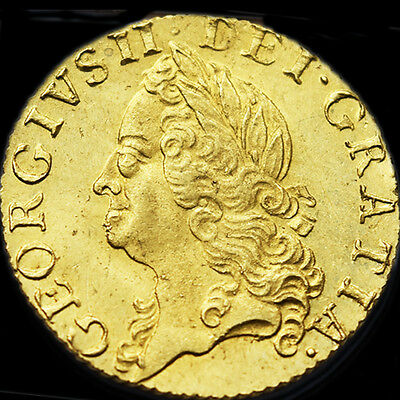 KING GEORGE THE II 1759 GOLD HALF GUINEA. About Uncirculated...