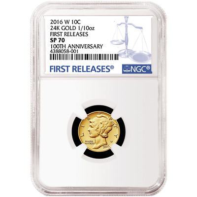 2016-W 10c Gold Mercury Dime Centennial .9999 1/10 oz NGC SP70 Blue FR