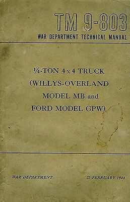 1944 Willys MB Jeep Ford GPW Manual TM 9-803