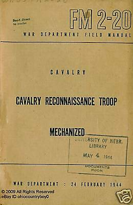1944 WWII Cavalry Reconnaissance Manual FM 2-20
