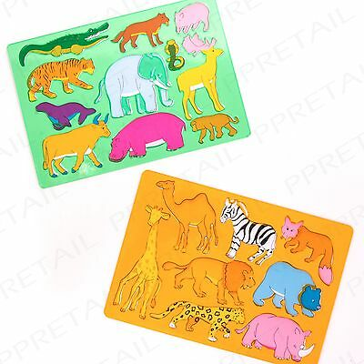 2 LARGE ZOO ANIMAL STENCILS SET Fun Kids Craft Drawing/Art Colouring Templates