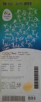 TICKET A 18.8.2016 Olympia Beachvolleyball Finale Mens Brasilien - Spanien # B93