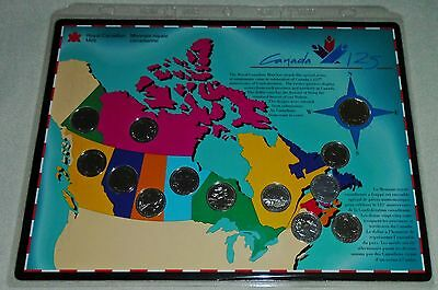 Royal Canadian Mint 125Th Anniversary Of Confederation Set Loonie Quarters $0.25