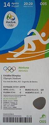 mint TICKET 14.8.2016 Olympia Rio Leichtathletik Gold 100m Usain Bolt # O05