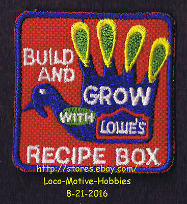 LMH PATCH Badge  RECIPE BOX Holder Chicken Rooster  LOWES Build Grow Kids Clinic