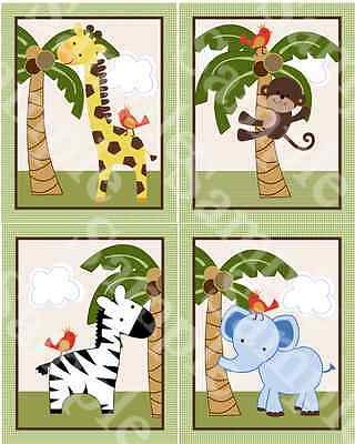 "Set of 4 Unframed ""Jungle Buddies Animals  8x10 inch Nursery Art Prints"
