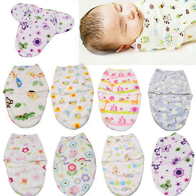 Newborn Swaddle Warm Swaddling Wrap Blanket Baby Infant Soft Sleeping Bag Fleece