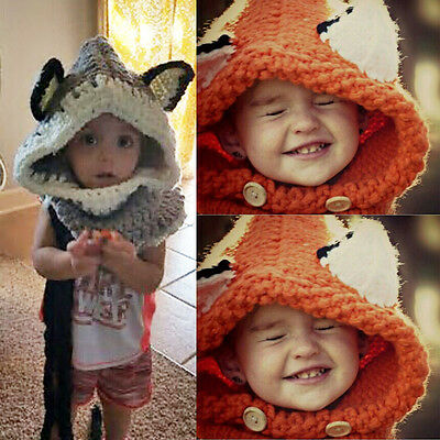 Toddler Baby Kids Beanie Cap Winter Warm Hooded Scarf Earflap Knitted Wool Hat