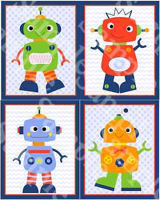 "Set of 4 Unframed ""Robot Babies""  8x10 inch Nursery Art Prints"