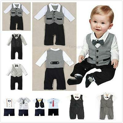 New Kids Baby Boys Gentleman Romper Jumpsuit Bodysuit Toddler Tuxedo Suit Outfit