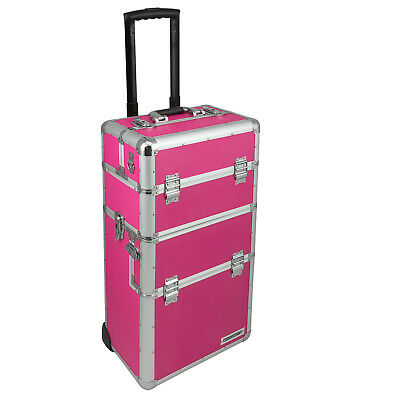 Trolley abnehmbarer Koffer Alukoffer Pilotenkoffer variable Fächer Pink anndora