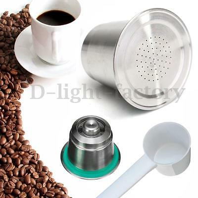 Stainless Steel Coffee Capsule Pod Refillable Reusable For Nespresso Machine New