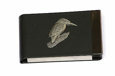 Kingfisher P Design Black PU and Metal Business or Credit Card Holder Gift