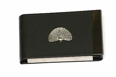 Peacock Design Black PU and Metal Business or Credit Card Holder Gift