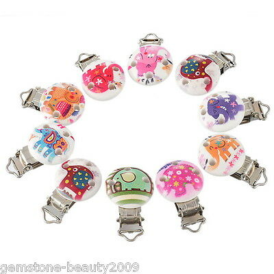 GB 5PCs Cartoon Animal Pacifier Clips Round Wooden Colorful Infant Baby Soother