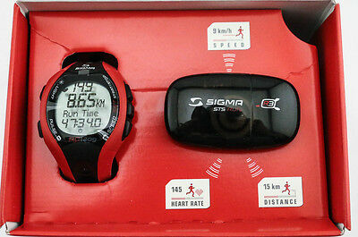 Sigma RC 1209 Running Computer Watch + Heart Rate Monitor Strap Red NEW