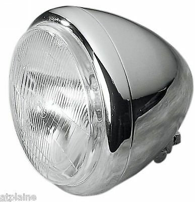 "Phare Bullet Smooth 5¾"" H4 Chrome Pour Harley & Customs"