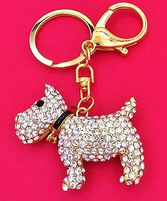 Gorgeous Gold Tone Terrier Swivel  Key Chain or Purse Charm Rhinestone studded