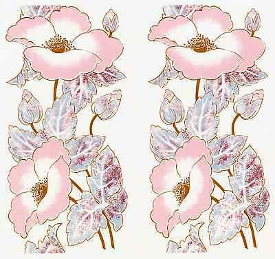 "2 Pink Poppy Gold Accent Flowers 6"" X 3"" Waterslide Ceramic Decals Xx"