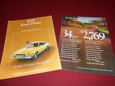 1975 FORD PINTO SALES CATALOG + PINTO & MUSTANG VALUE BROCHURE, 2 for 1