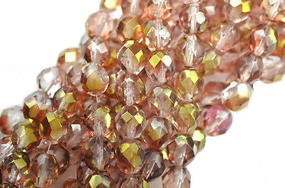 25 Gold Pink Luster Faceted Fire Polished Round Glass Beads 8MM LIMITED