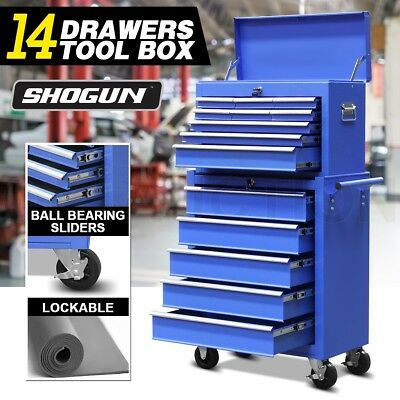 14 Drawers Mechanic Tool Box Chest Cabinet Trolley Roller Toolbox Storage Blue