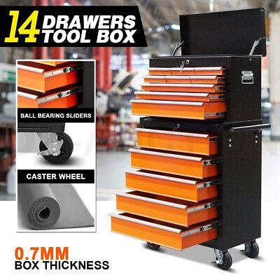14 Drawers Mechanic Tool Box Storage Toolbox Cabinet Chest Trolley Roller