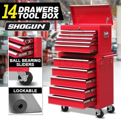 14 Drawers Toolbox Chest Cabinet Mechanic Trolley Roller Tool Box Storage Red